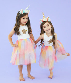 Gold Star & Rainbow Dress