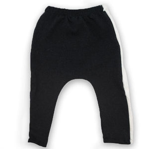 NoHo Jogger Pants- White Fur Trim - Black