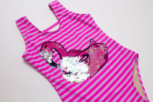 Pink/White Stripe Sequin Flamingo - One Piece