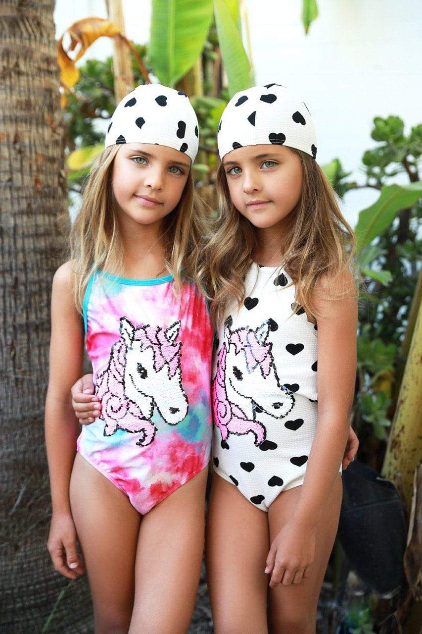 UNICORN SEQUIN FLIP HEART SWIM SUIT