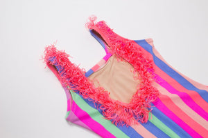 Rainbow Stripe Fringe - One Piece