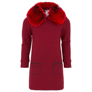 Red Dress with Faux Fur Collar