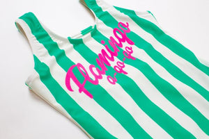 Flamingo Green/White Stripe - One Piece