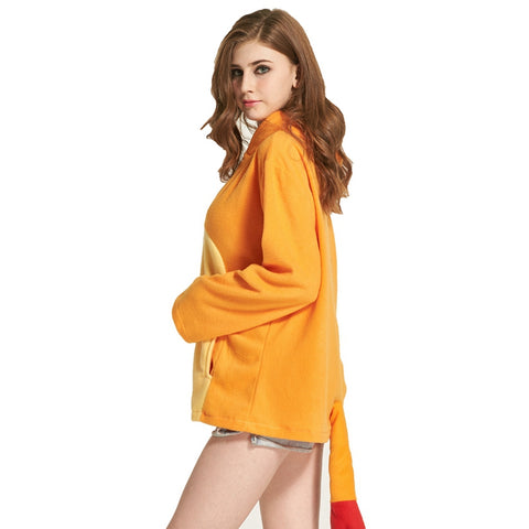 Womens Charmander Pokemon Hoodie with tail and zip