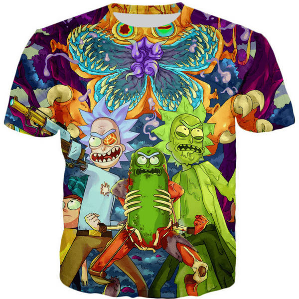 Rick and Morty T Shirt, Psychedelic Pickle Rick 3D Print