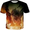 Game of Thrones T Shirt with a Dragon breathing fire 3D printed. The dragon is Drogon.