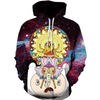 Front of 3d printed Adventure Time Hoodie with Galaxy Print, Finn and Jake