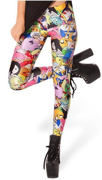 Woman wearing Adventure Time leggings standing on one leg. Multi-coloured with Finn, Jake, Princess
