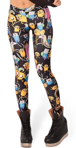 Adventure Time Tight and leggings from the front. Black with many of the characters