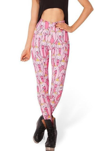 Womens Pink Adventure Time leggings with princess bubblegum