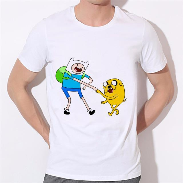 Man wearing White Adventure Time T Shirt with Finn and Jake on the Front