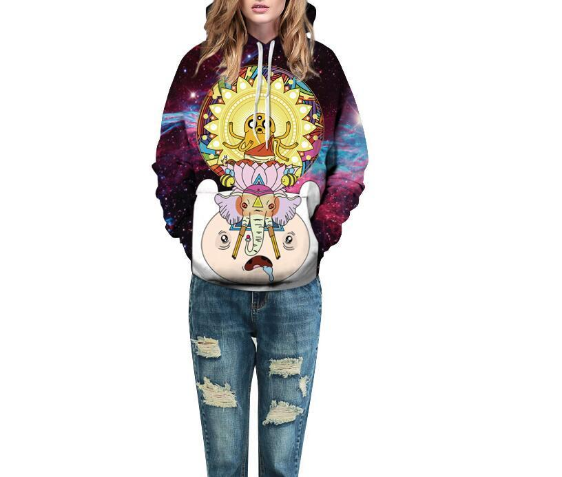 Trippy Galaxy Print Adventure time Hoodie
