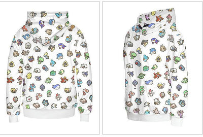 Pokemon Hoodie back and side with with Bulbasaur, Pikachu, Charmander, Squirtle