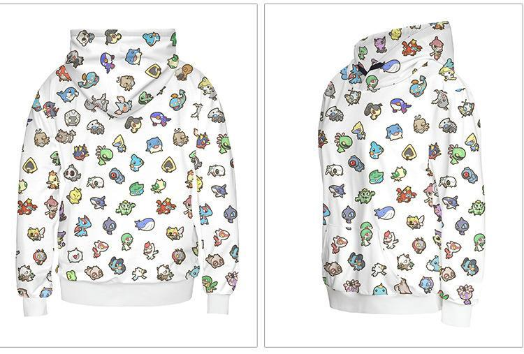 Pokemon Hoodie Front with with Bulbasaur, Pikachu, Charmander, Squirtle