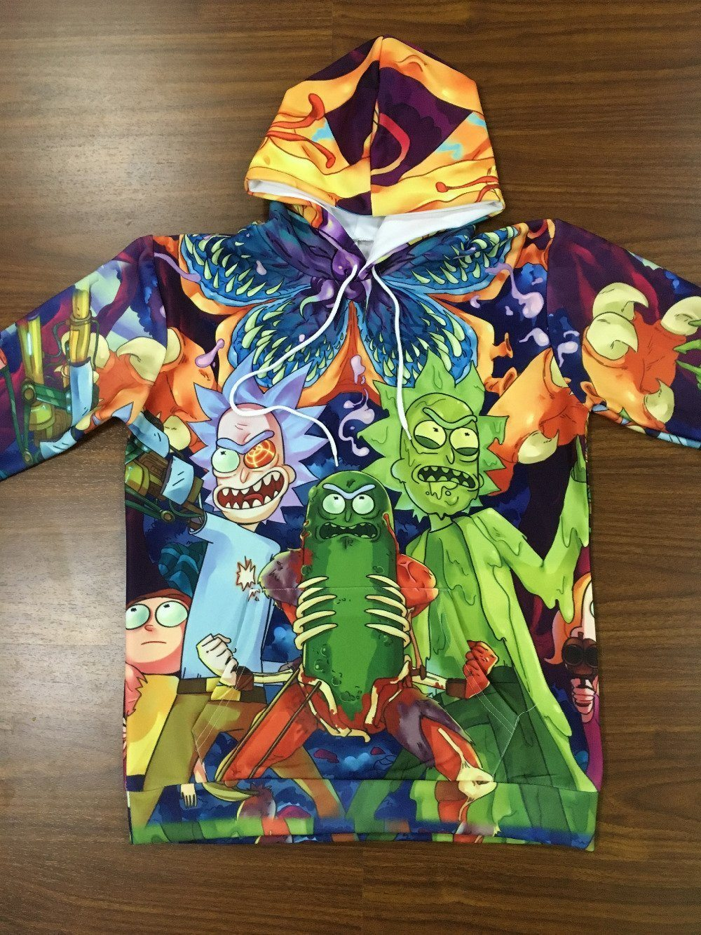 81d94bac4 Rick and morty Hoodie - Psychedelic Tie Dye Pickle Rick and Evil Ricks