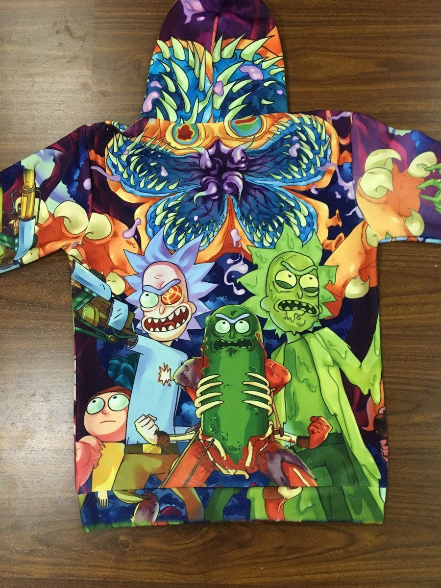 Rick and morty Hoodie - Psychedelic Tie Dye Pickle Rick and Evil Ricks