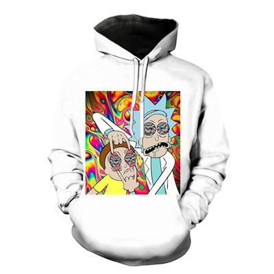 White Psychadelic Rick and Morty Hoodie