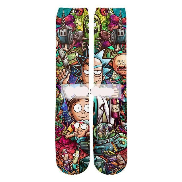 Psychedelic Rick and Morty Socks