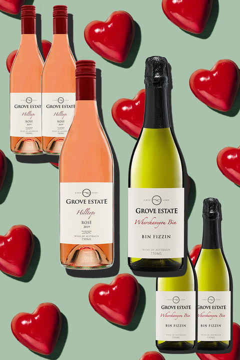 "Valentine's Day Deal, Grove Estate Hilltops Rosé 2019 & Wherehaveyou Bin ""Bin Fizzin"" 6 bottles (NSW, VIC, ACT free shipping)"