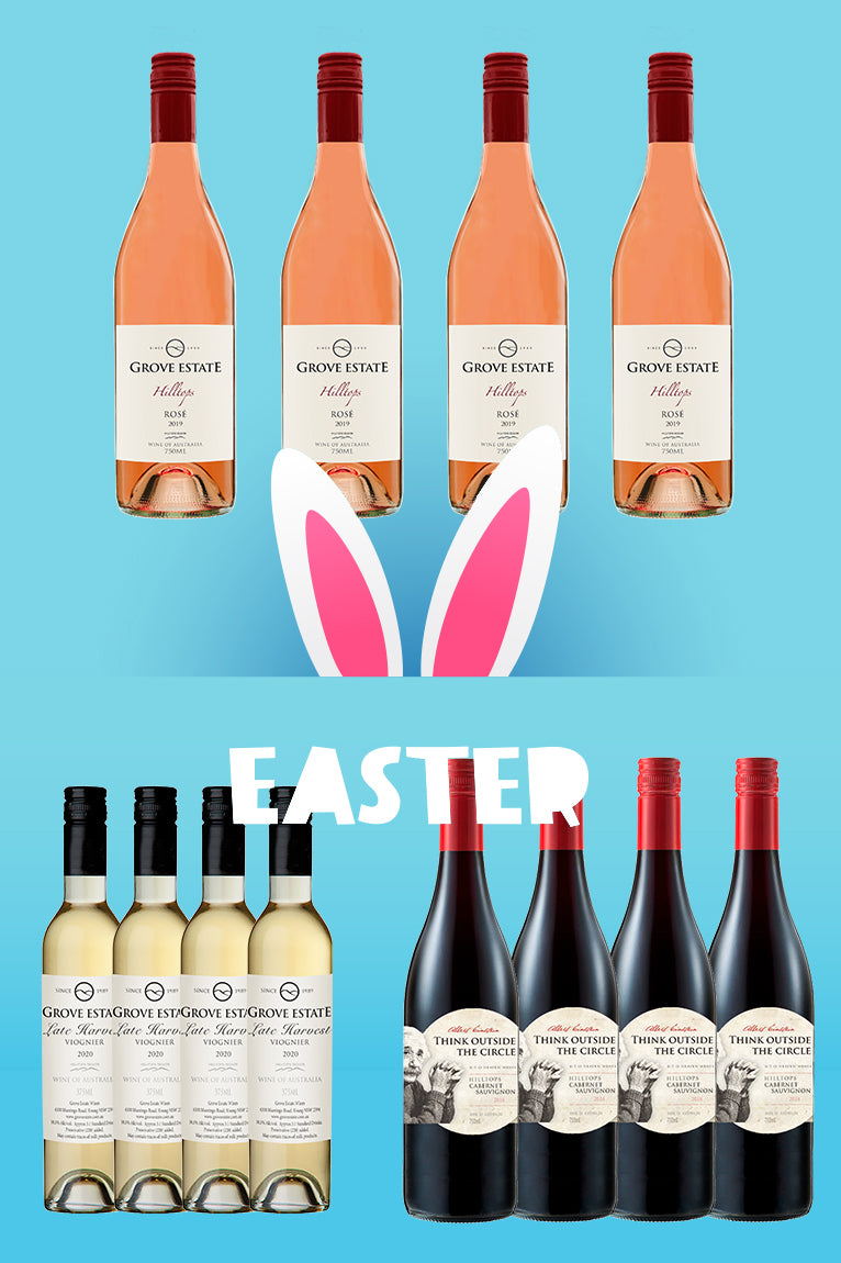 Easter Deal 40% OFF, Grove Estate Hilltops Rosé, Late Harvest Viognier and Think Outside the Circle Cab Sauv 12 bottles (NSW, VIC, ACT free shipping)