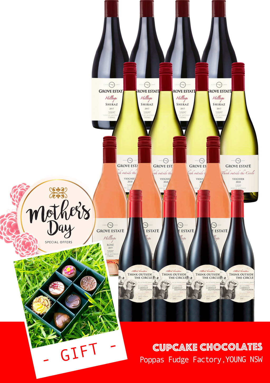 $175 Mothers' Day Mixed Case – plus a complementary gift from Poppa's Fudge Factory