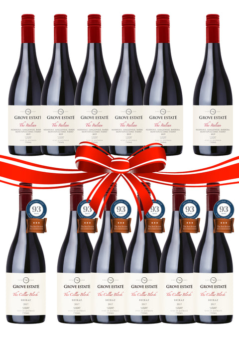 $199 free shipping, mixed case: 6 bottles X The Italian 2019, 6 bottles X The Cellar Block Shiraz (Viognier) 2017