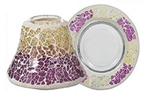 Purple And Gold Crackle Small Jar Shade w/ Tray
