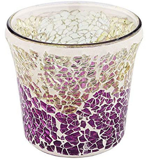 Purple And Gold Crackle Votive Holder