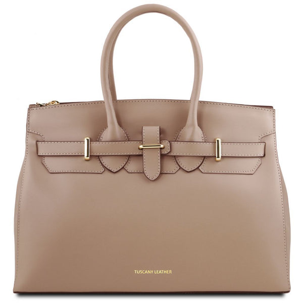 Elettra Leather handbag with golden hardware