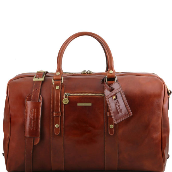 TL Voyager Leather travel bag with front pocket