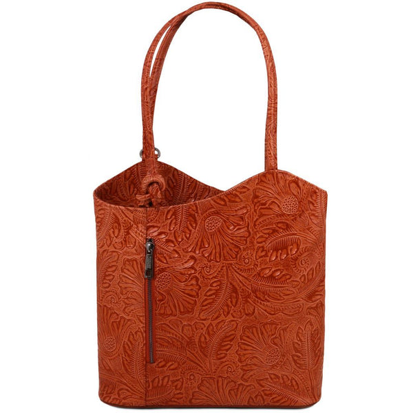 Patty Leather convertible bag with floral pattern