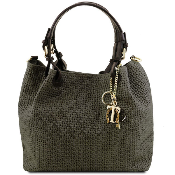 TL KeyLuck Woven printed leather shopping bag