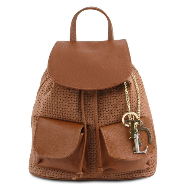 TL KeyLuck Woven printed leather backpack