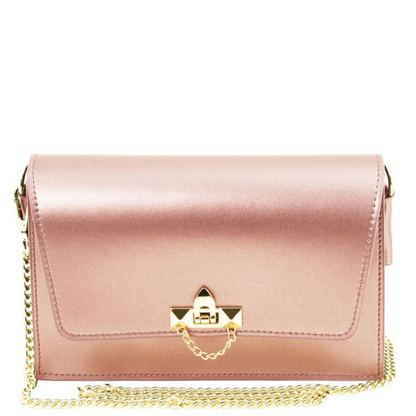 TL Bag Metallic leather clutch with chain strap