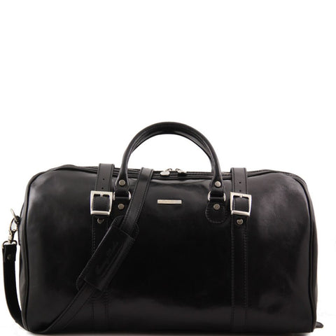 Berlin Travel leather duffle bag with front straps - Large size
