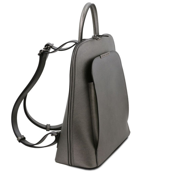 TL Bag Metallic leather backpack