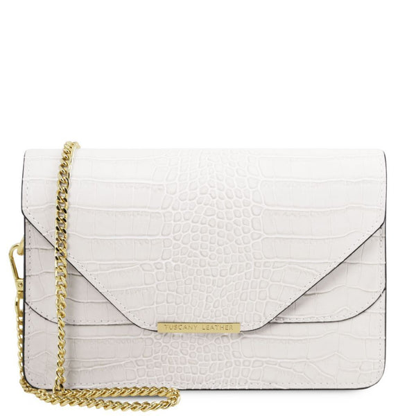 Hera Croc print leather clutch with chain strap