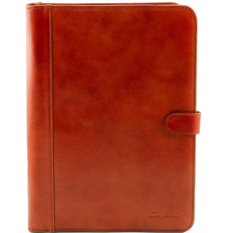 Adriano Leather document case with button closure
