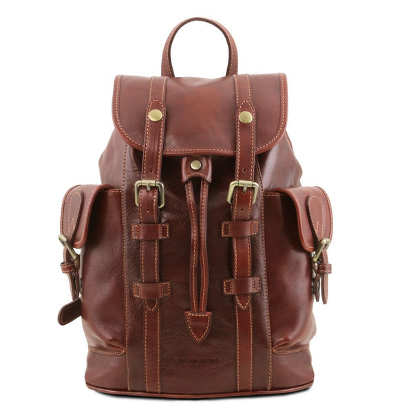 Nara Leather Backpack with side pockets