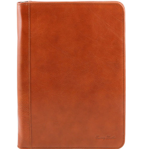 Luigi XIV Leather document case with zip closure