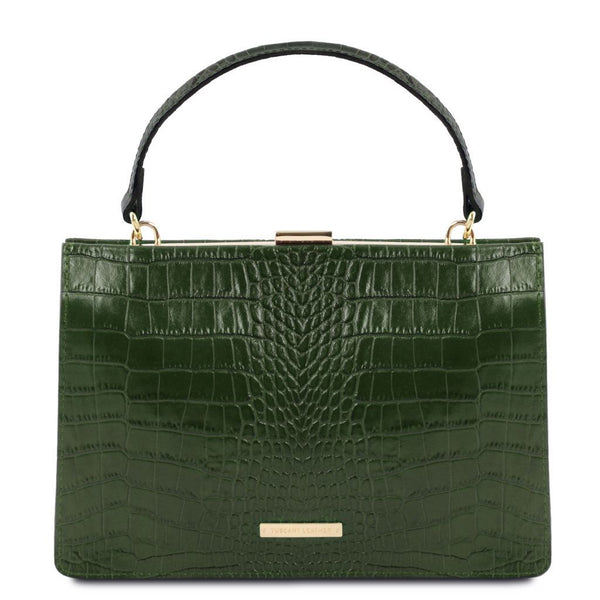 Iris Croc print leather handbag