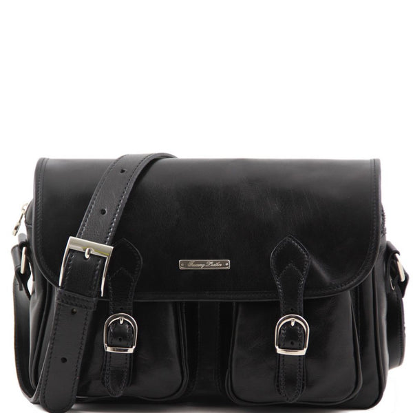 San Marino Travel leather bag with pockets on the front side