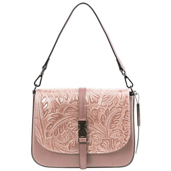 Nausica Leather shoulder bag with floral pattern