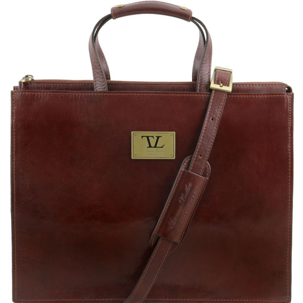 Palermo Leather briefcase 3 compartments for woman