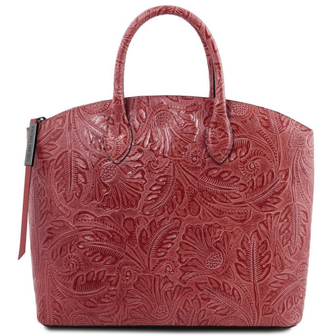 Gaia Leather tote with floral pattern