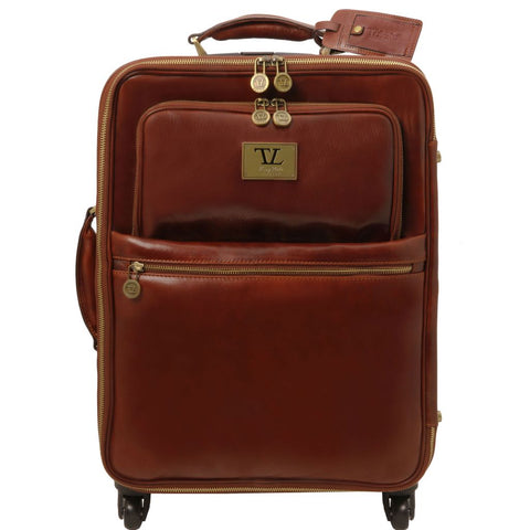 TL Voyager 4 Wheels vertical leather trolley