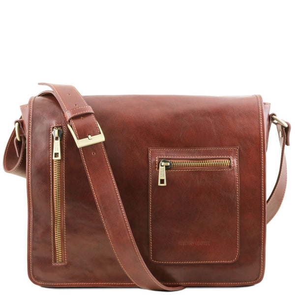 TL Messenger Leather double compartment laptop shoulder bag