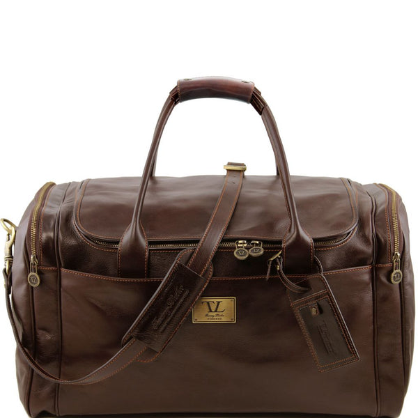 TL Voyager Travel leather bag with side pockets - Large size
