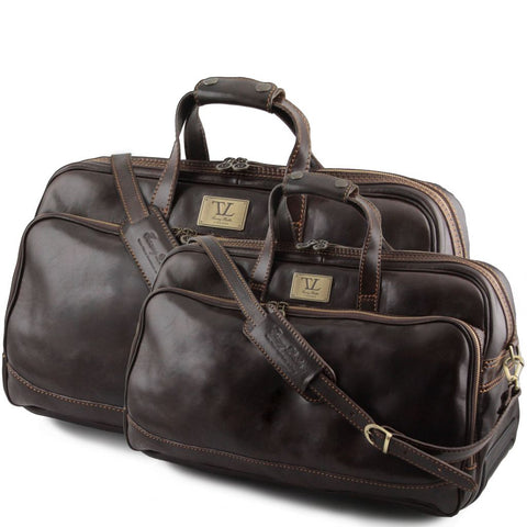 Bora Bora Leather Trolley travel set