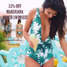 Marijuana Leaf Print Cut Out Waist One Piece Swimsuit Monokini / Beach wear